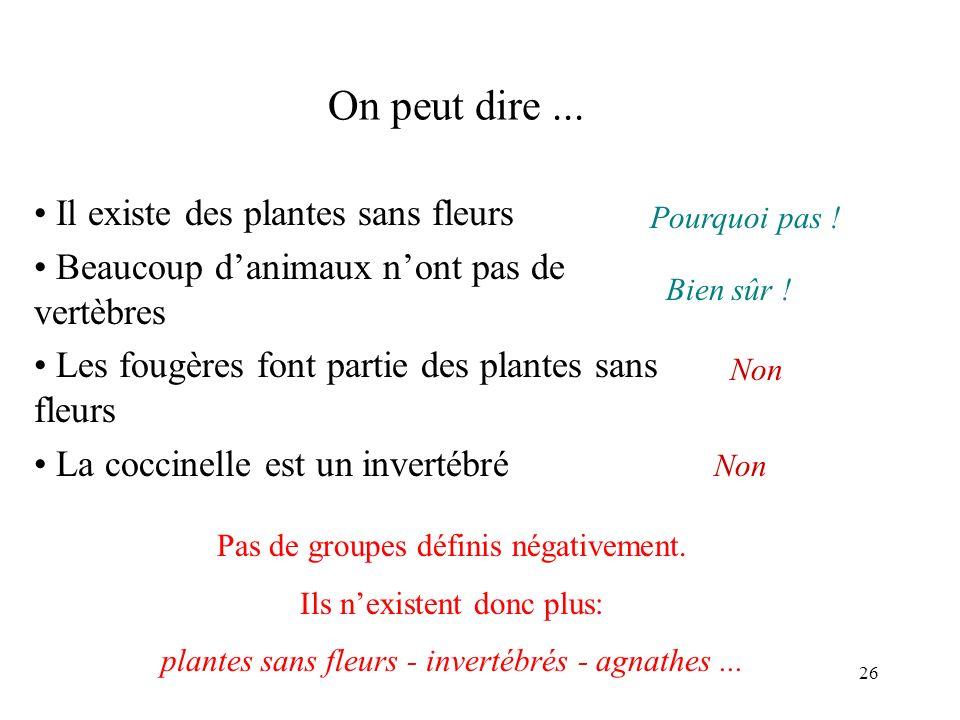 On peut dire ... Il existe des plantes sans fleurs