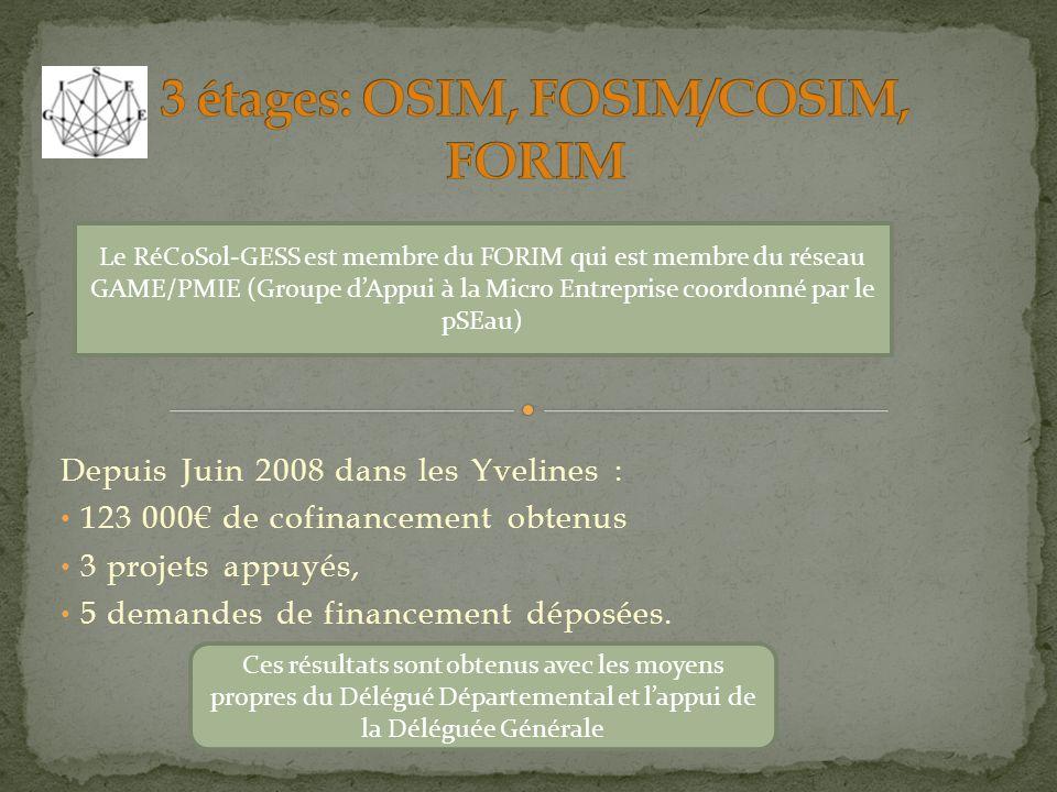 3 étages: OSIM, FOSIM/COSIM, FORIM