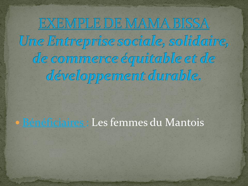 EXEMPLE DE MAMA BISSA Une Entreprise sociale, solidaire, de commerce équitable et de développement durable.