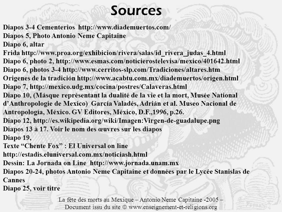 Sources Diapos 3-4 Cementerios http://www.diademuertos.com/