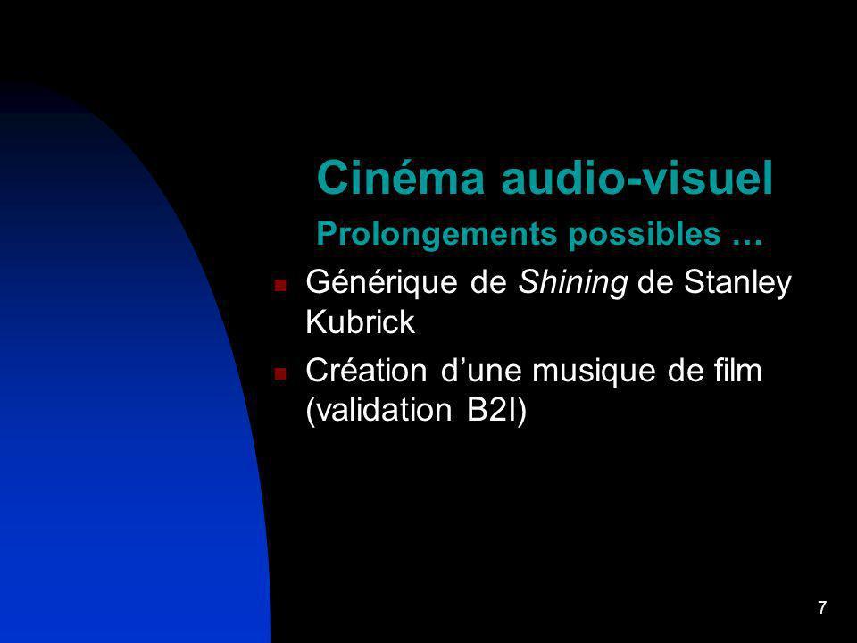Cinéma audio-visuel Prolongements possibles …