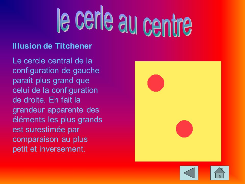 le cerle au centre Illusion de Titchener