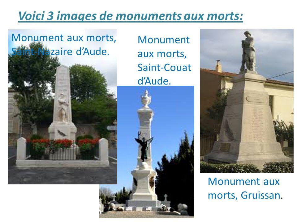 Voici 3 images de monuments aux morts: