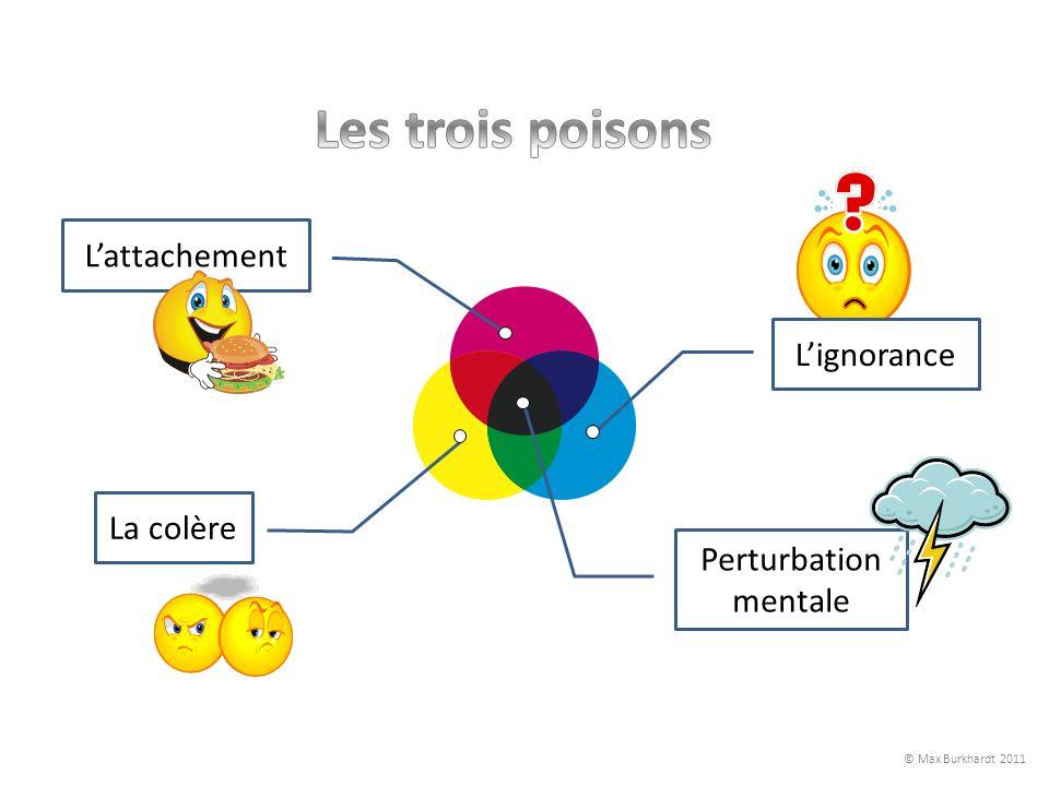 Les trois poisons L'attachement L'ignorance La colère