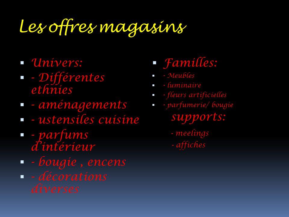 Les offres magasins Univers: - Différentes ethnies - aménagements