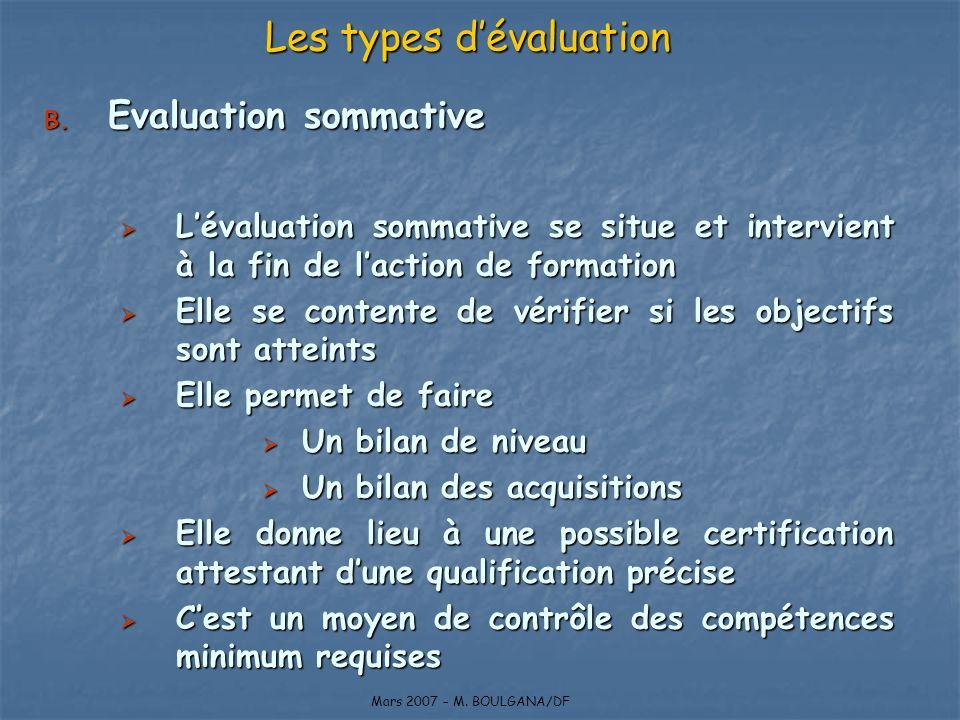 Les types d'évaluation