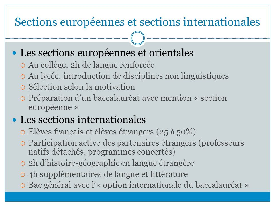 Sections européennes et sections internationales
