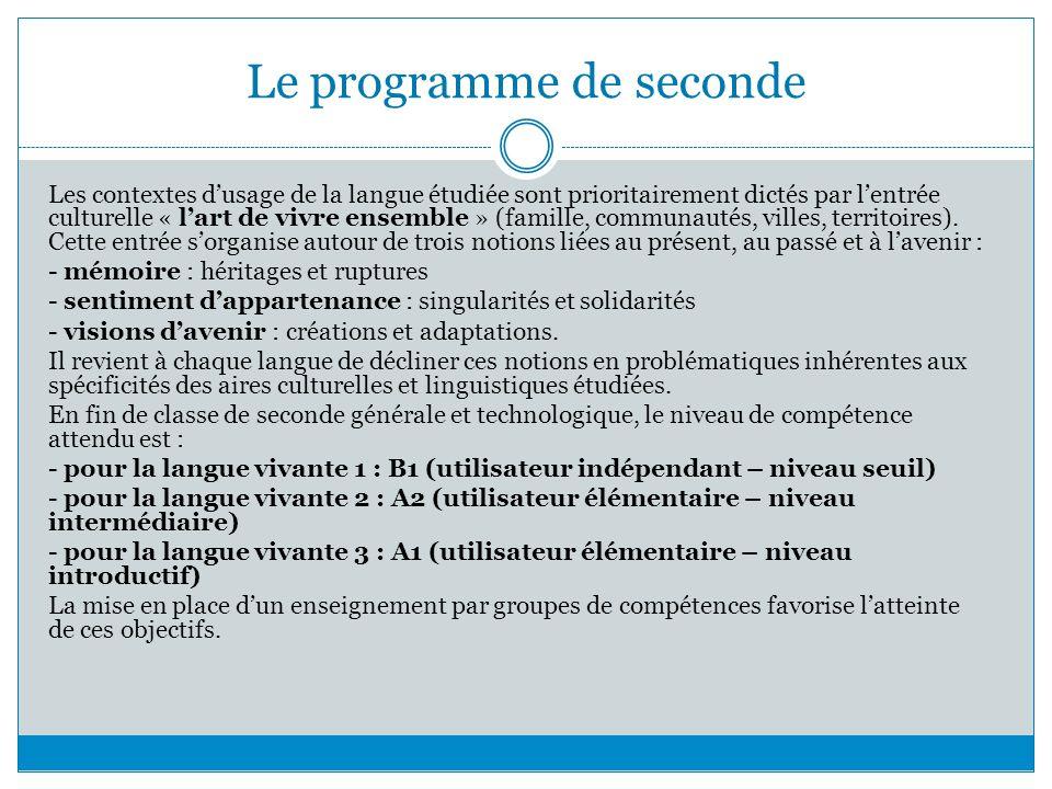 Le programme de seconde