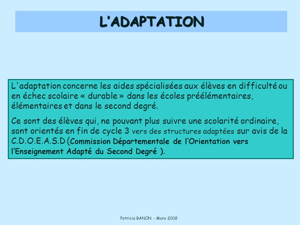 L'ADAPTATION