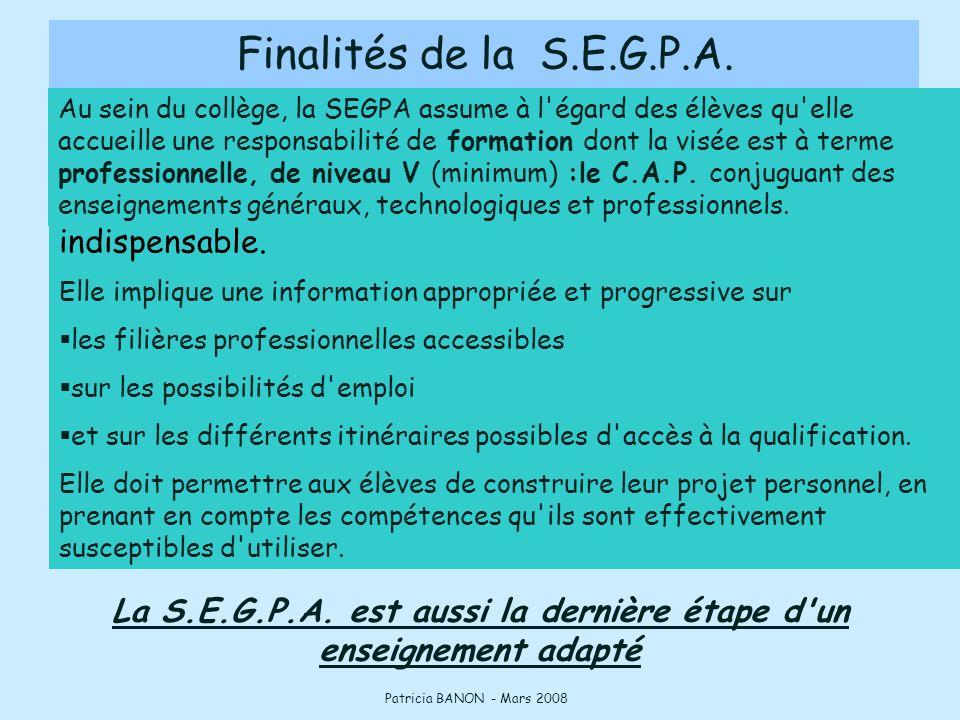 La S.E.G.P.A. est aussi la dernière étape d un enseignement adapté