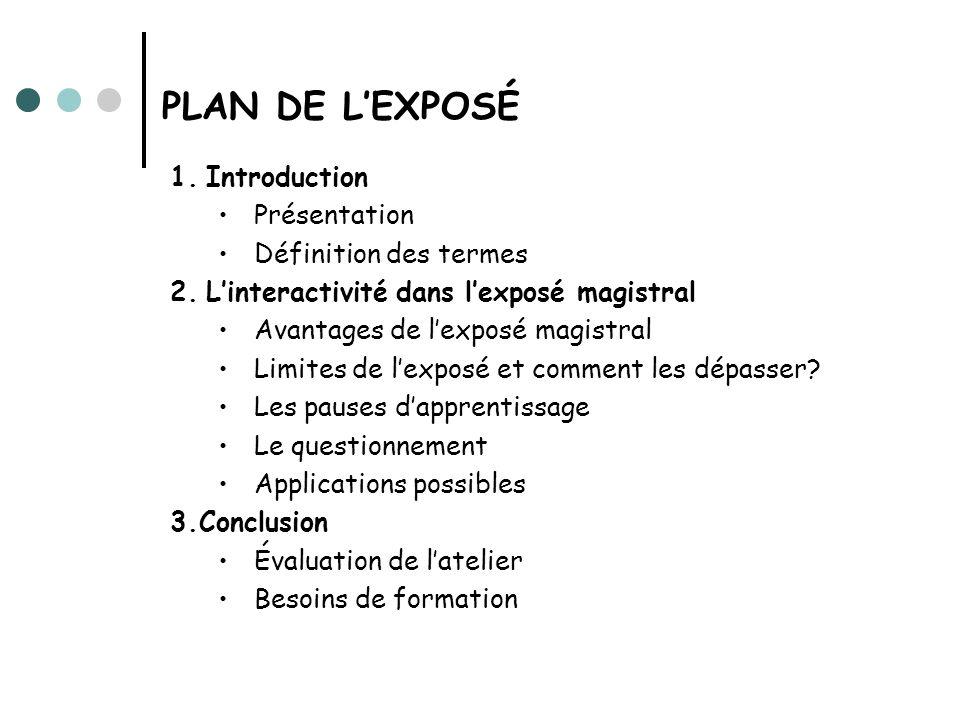 PLAN DE L'EXPOSÉ 1. Introduction Présentation Définition des termes