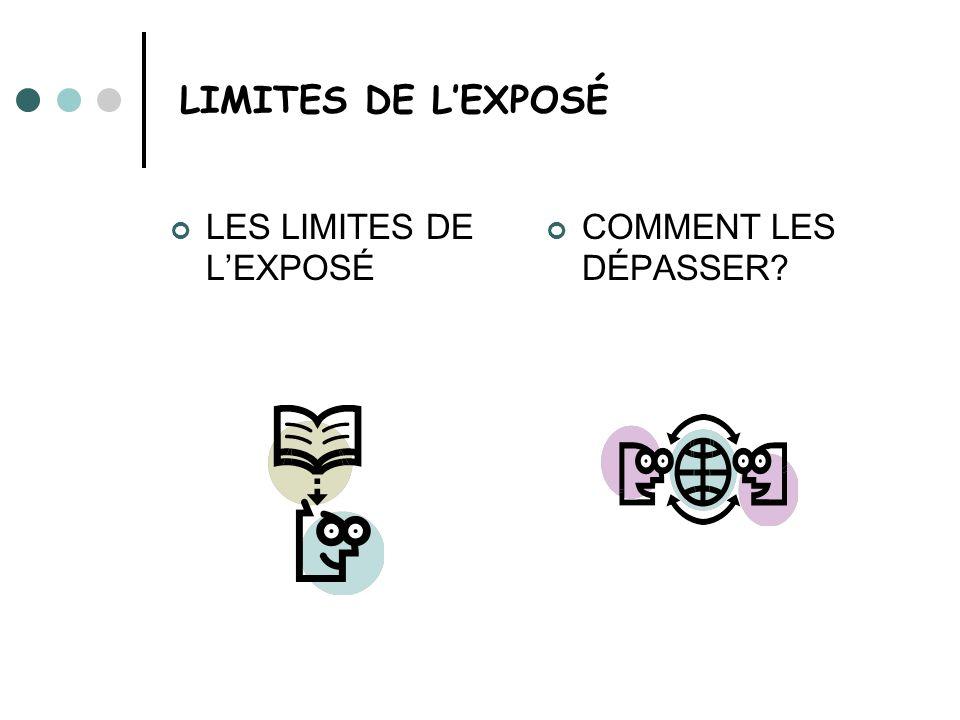 LIMITES DE L'EXPOSÉ LES LIMITES DE L'EXPOSÉ COMMENT LES DÉPASSER