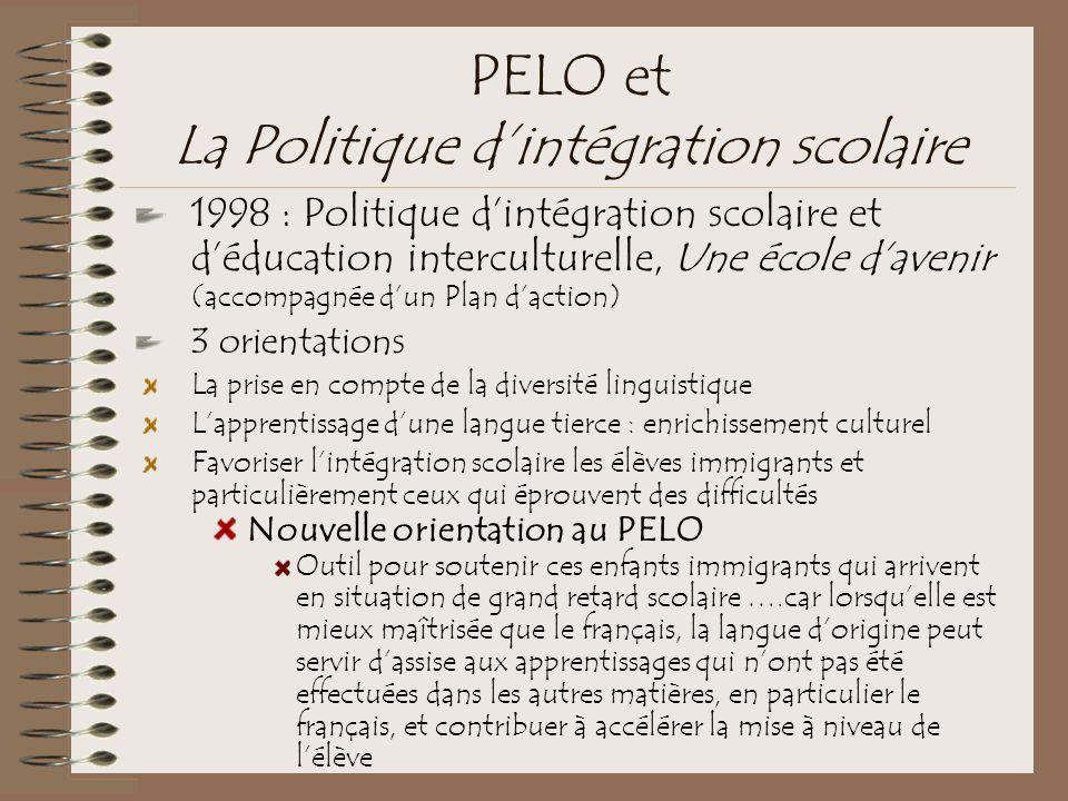 PELO et La Politique d'intégration scolaire