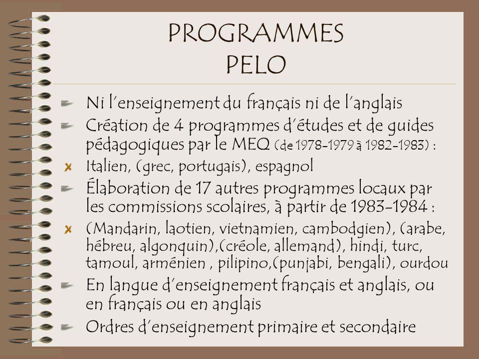PROGRAMMES PELO Ni l'enseignement du français ni de l'anglais