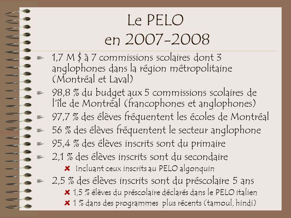 Le PELO en 2007-2008 1,7 M $ à 7 commissions scolaires dont 3 anglophones dans la région métropolitaine (Montréal et Laval)