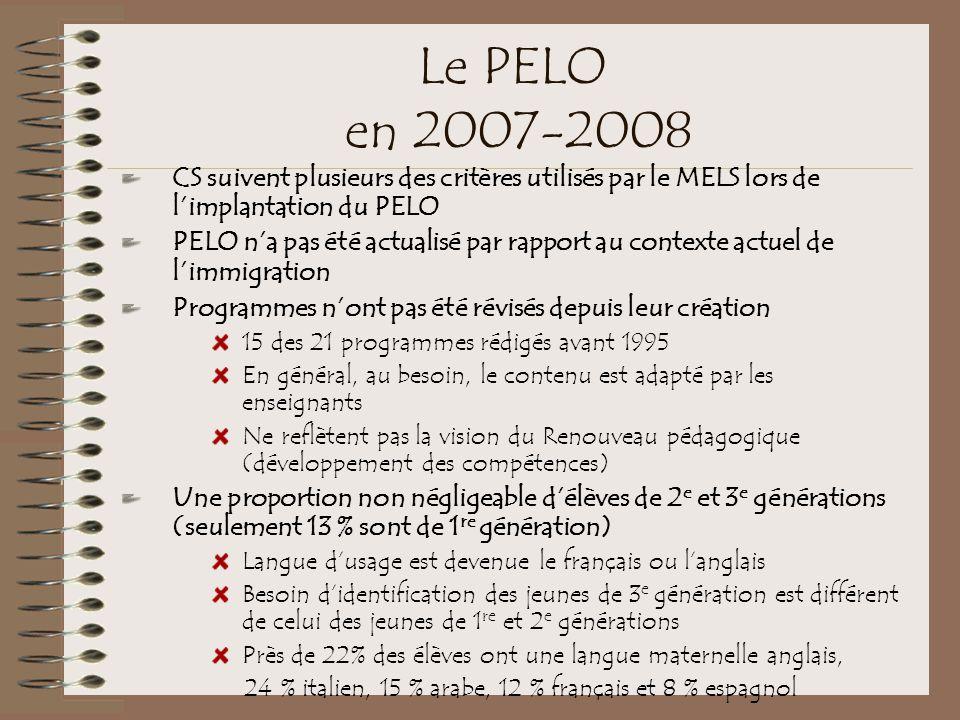 Le PELO en 2007-2008 CS suivent plusieurs des critères utilisés par le MELS lors de l'implantation du PELO.