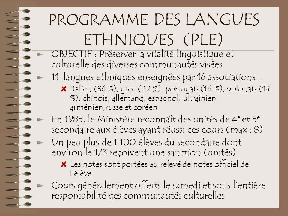 PROGRAMME DES LANGUES ETHNIQUES (PLE)