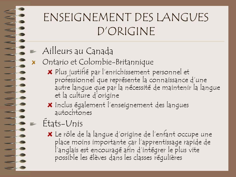 ENSEIGNEMENT DES LANGUES D'ORIGINE