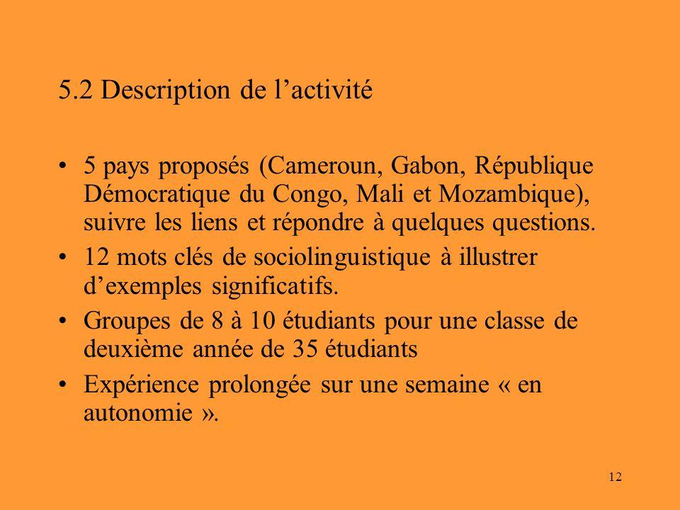 5.2 Description de l'activité