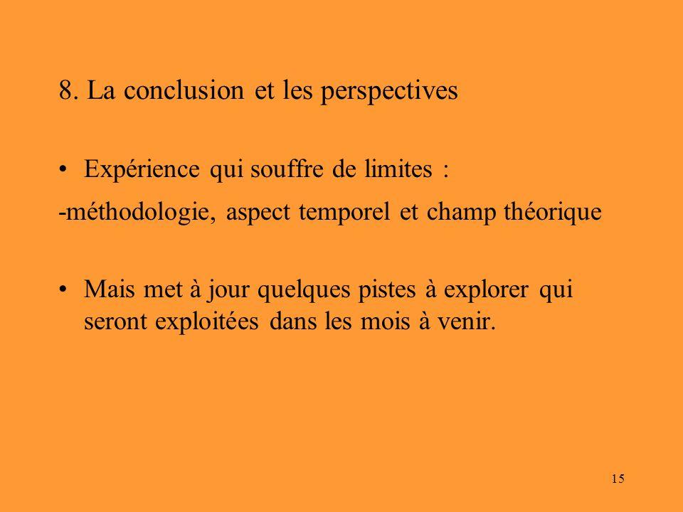 8. La conclusion et les perspectives