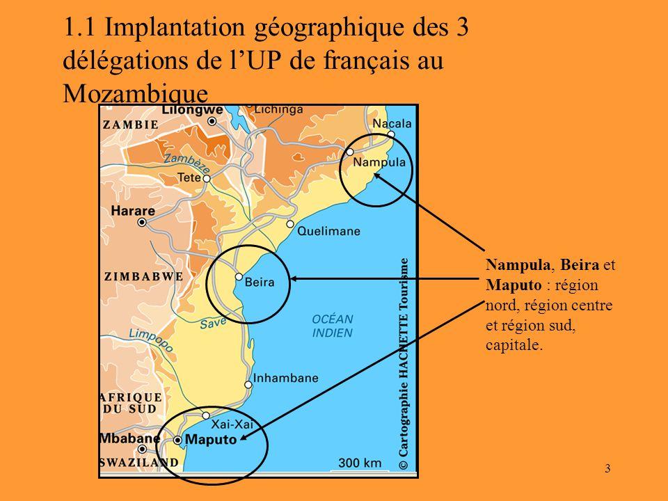 1.1 Implantation géographique des 3 délégations de l'UP de français au Mozambique