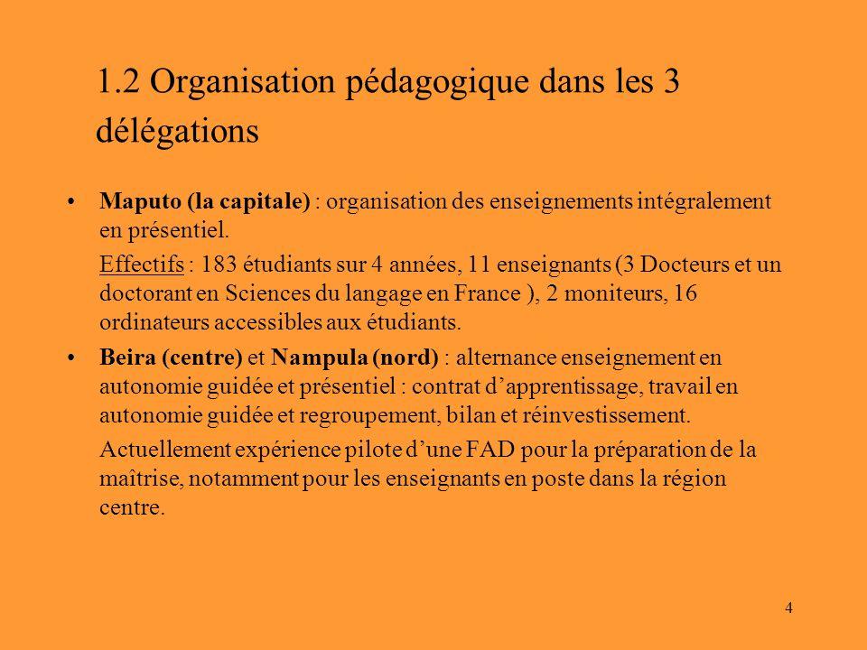 1.2 Organisation pédagogique dans les 3 délégations