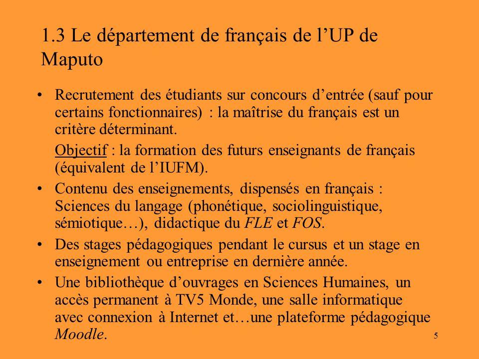 1.3 Le département de français de l'UP de Maputo