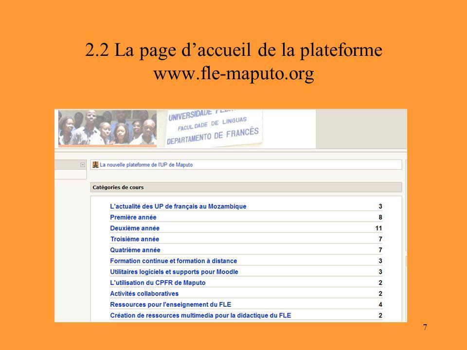 2.2 La page d'accueil de la plateforme www.fle-maputo.org