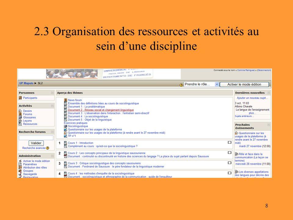 2.3 Organisation des ressources et activités au sein d'une discipline