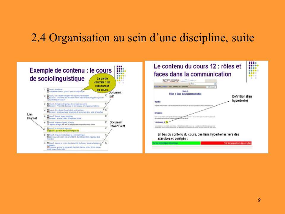 2.4 Organisation au sein d'une discipline, suite