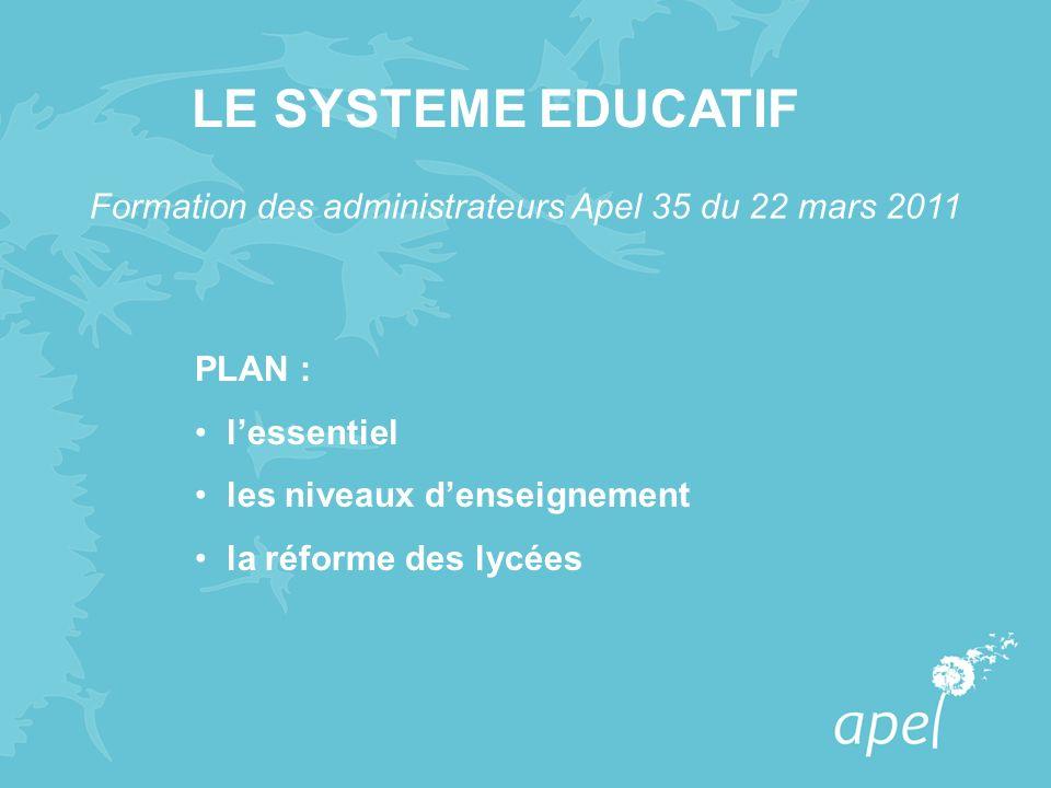 LE SYSTEME EDUCATIF Formation des administrateurs Apel 35 du 22 mars 2011. PLAN : l'essentiel. les niveaux d'enseignement.