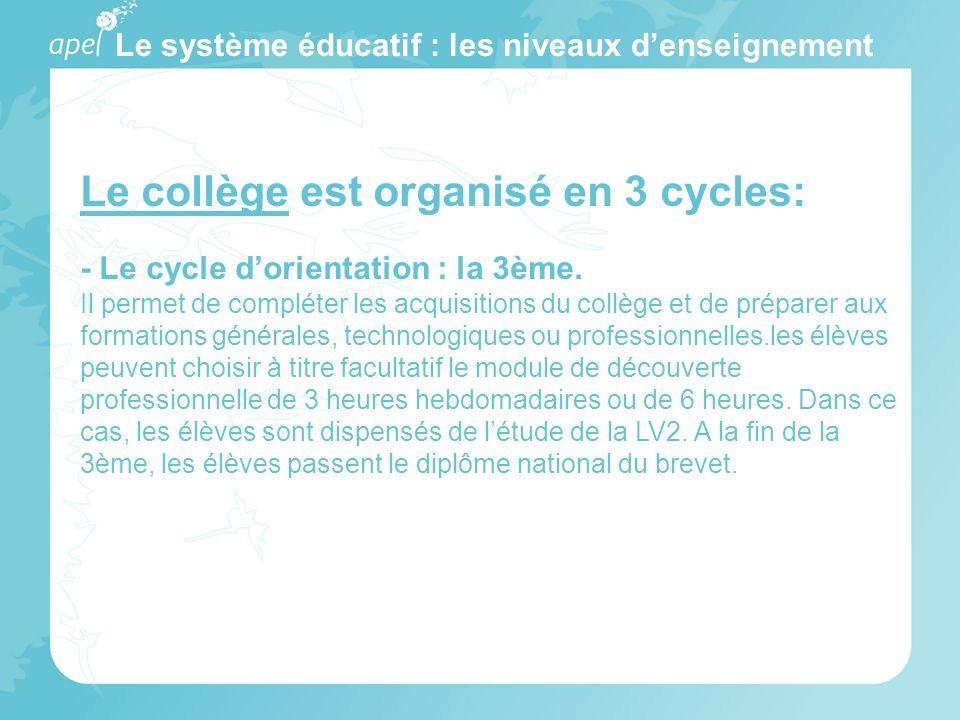 Le système éducatif : les niveaux d'enseignement