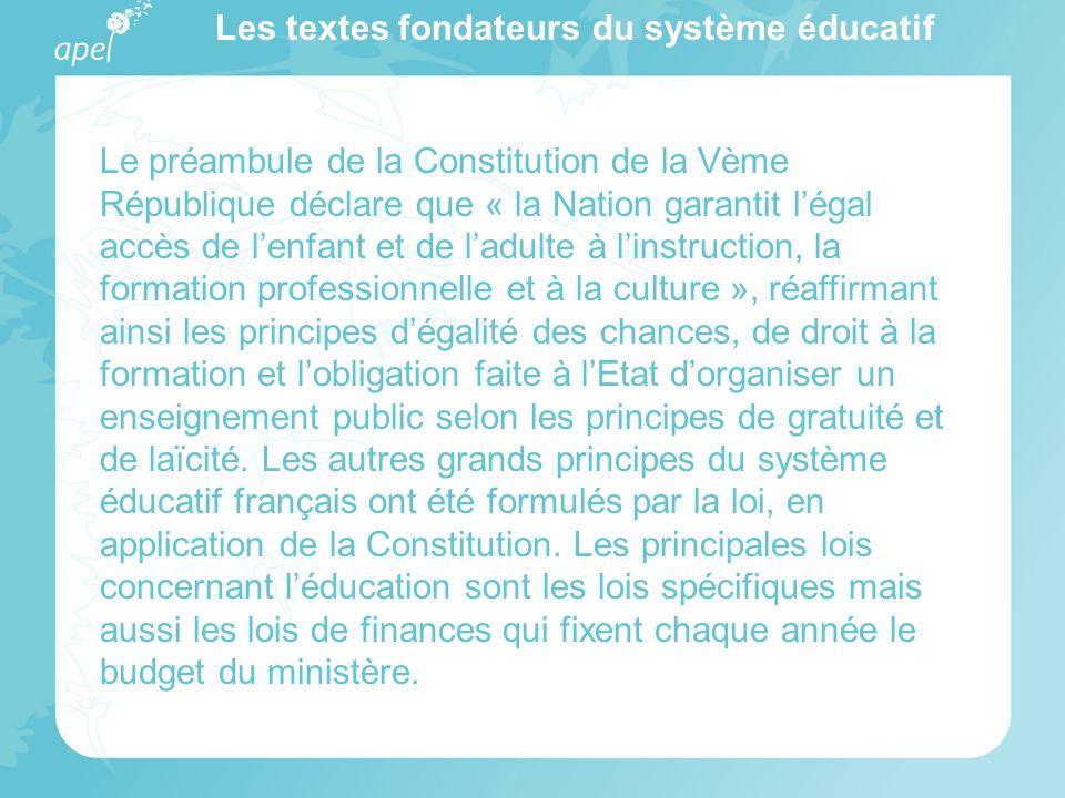 Les textes fondateurs du système éducatif