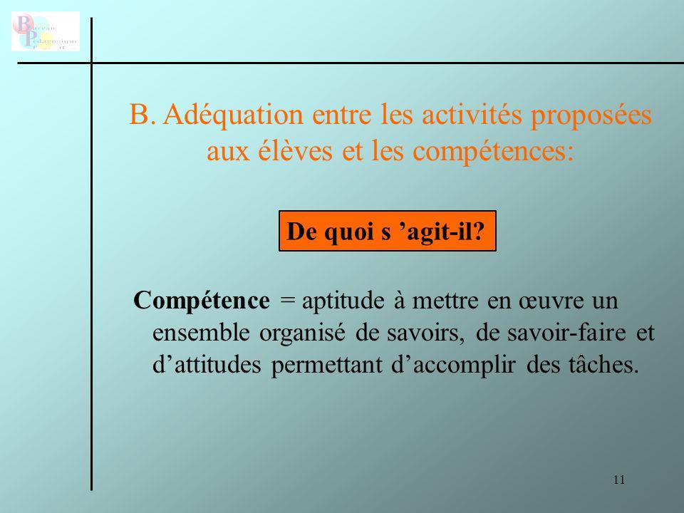 B. Adéquation entre les activités proposées aux élèves et les compétences: