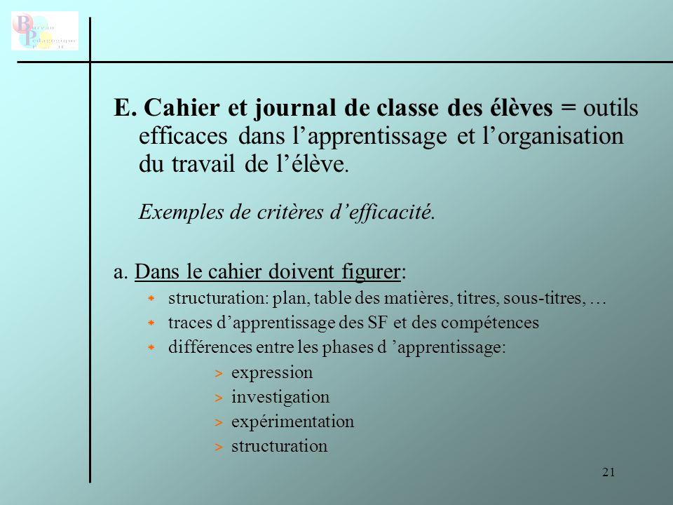 E. Cahier et journal de classe des élèves = outils efficaces dans l'apprentissage et l'organisation du travail de l'élève.
