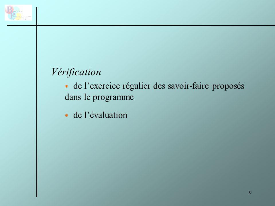 Vérification de l'exercice régulier des savoir-faire proposés dans le programme de l'évaluation