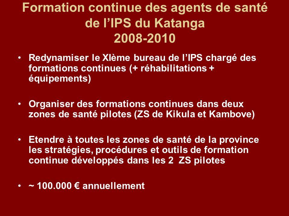 Formation continue des agents de santé de l'IPS du Katanga 2008-2010