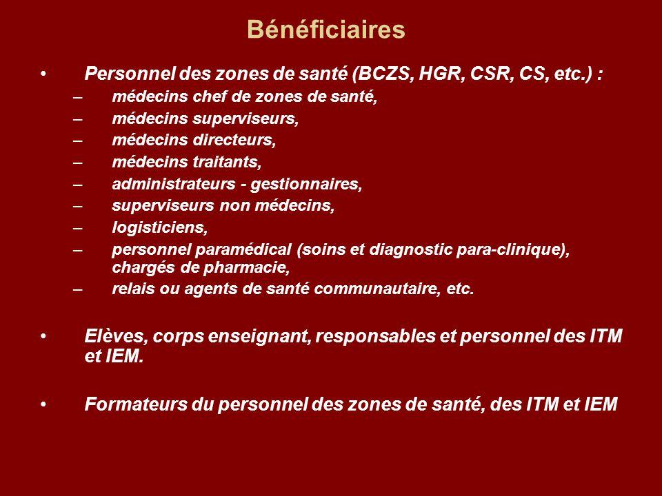 Bénéficiaires Personnel des zones de santé (BCZS, HGR, CSR, CS, etc.) : médecins chef de zones de santé,