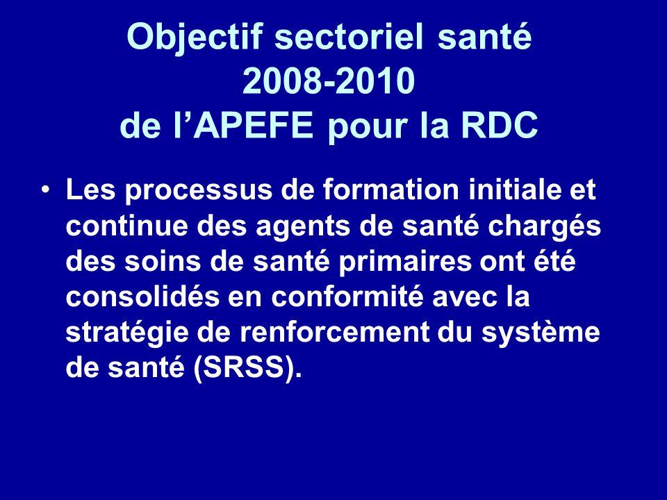 Objectif sectoriel santé 2008-2010 de l'APEFE pour la RDC