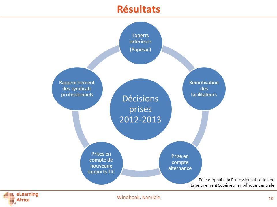 Résultats Décisions prises 2012-2013 Experts exterieurs (Papesac)