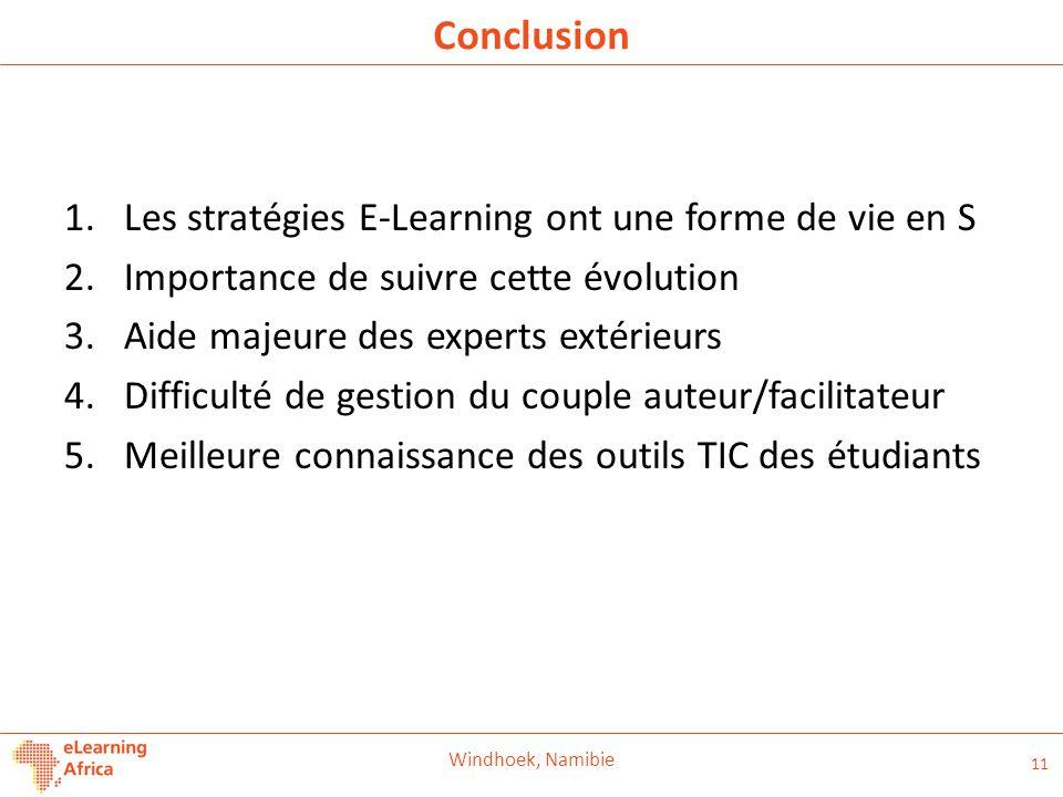 Conclusion Les stratégies E-Learning ont une forme de vie en S