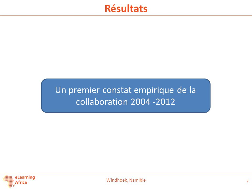 Un premier constat empirique de la collaboration 2004 -2012
