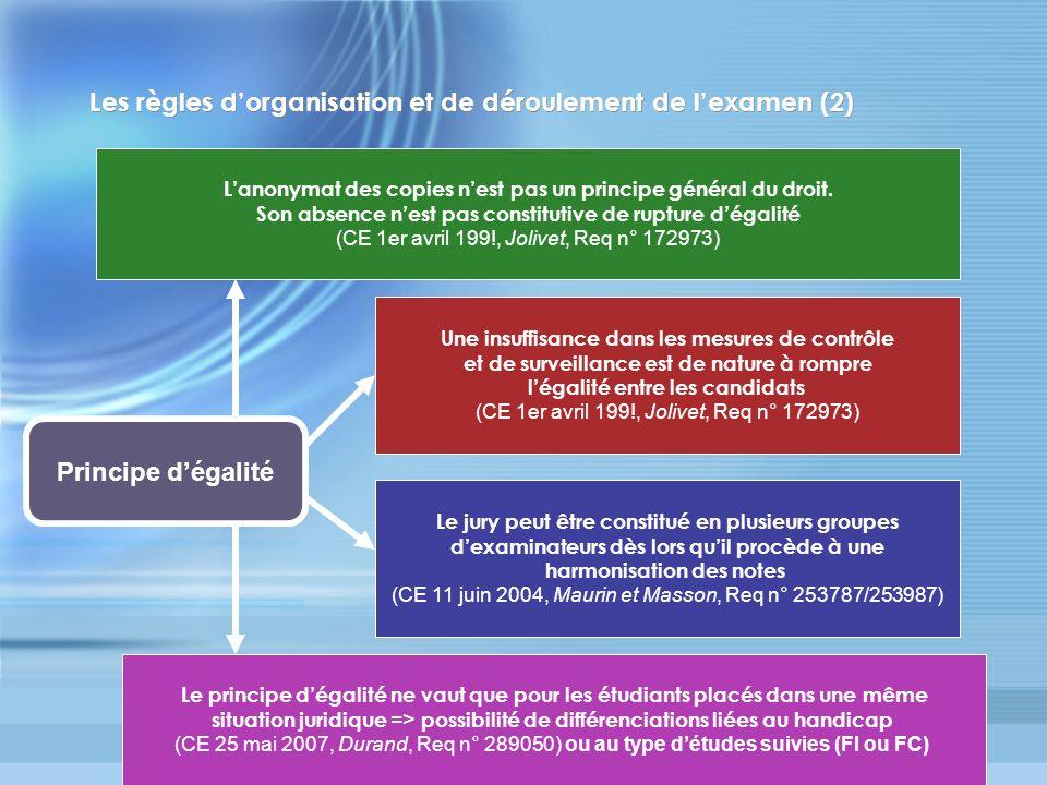 Les règles d'organisation et de déroulement de l'examen (2)