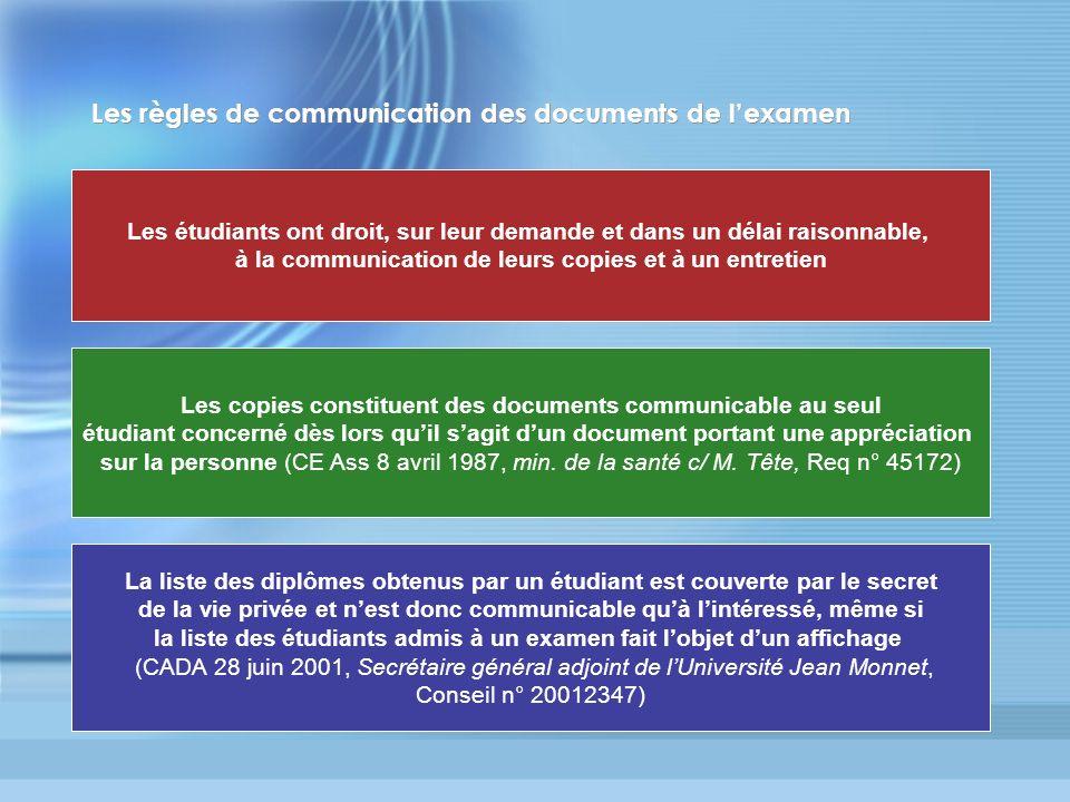 Les règles de communication des documents de l'examen