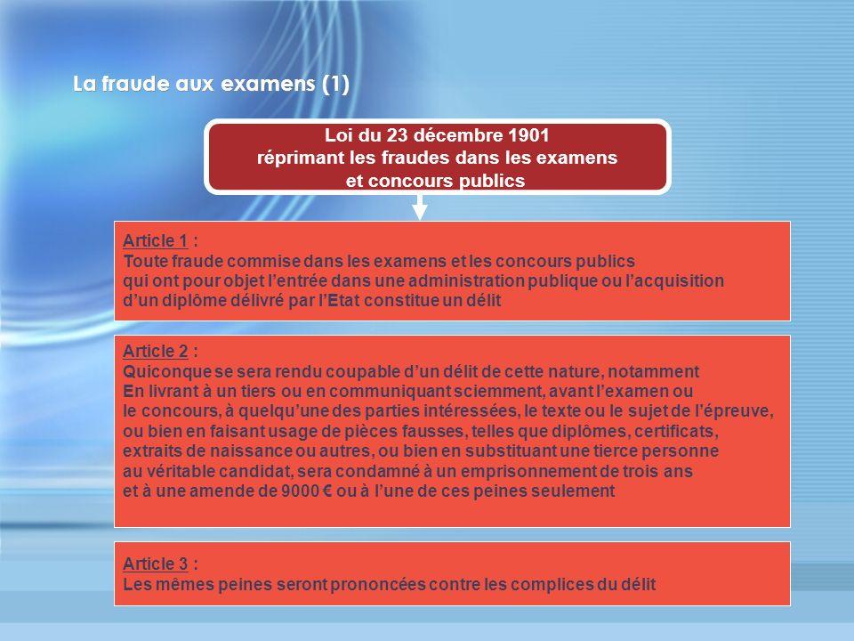 La fraude aux examens (1)