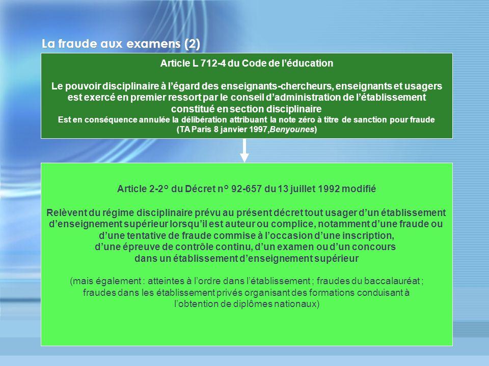 La fraude aux examens (2)