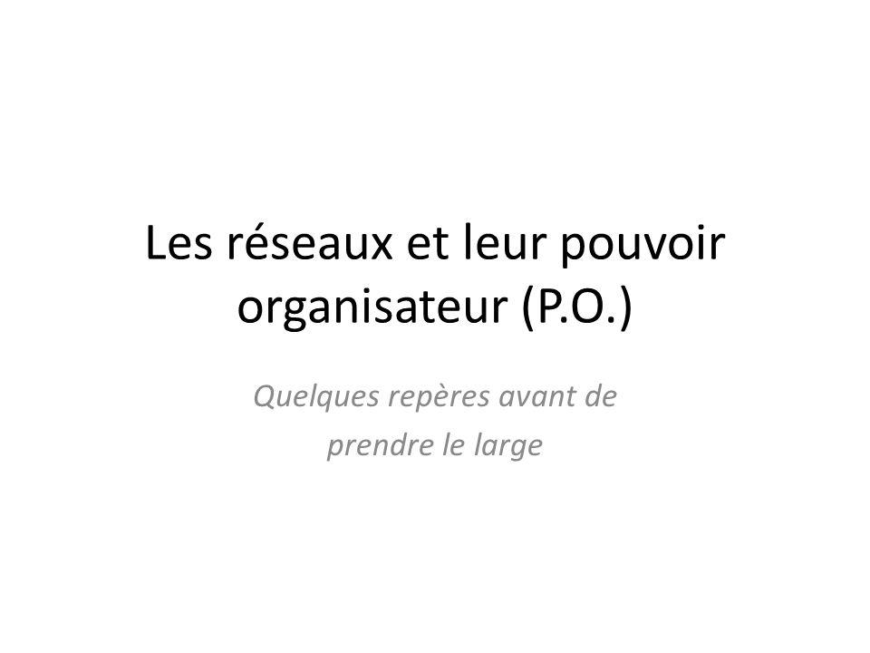 Les réseaux et leur pouvoir organisateur (P.O.)