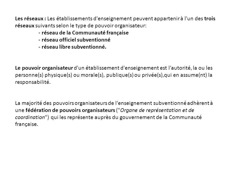 Les réseaux : Les établissements d enseignement peuvent appartenir à l un des trois réseaux suivants selon le type de pouvoir organisateur: - réseau de la Communauté française - réseau officiel subventionné - réseau libre subventionné.