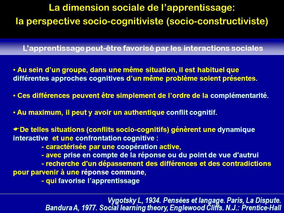 L'apprentissage peut-être favorisé par les interactions sociales