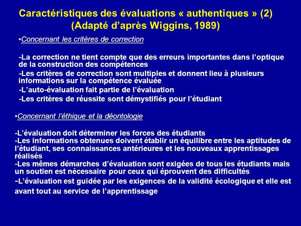 Caractéristiques des évaluations « authentiques » (2) (Adapté d'après Wiggins, 1989)